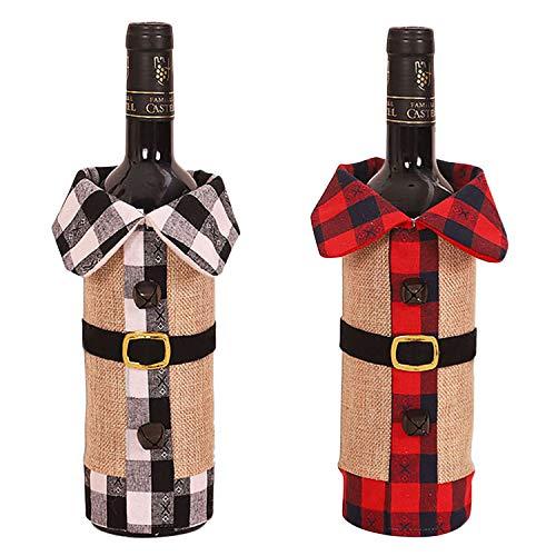 LAEMILIA 2Pcs Weihnacht Weinabdeckung Flaschenbehalter, dekorative Weinbeutel für Partydekor Geschenk Shirt Form Rot und Grau Sackleinen Buffalo Plaid