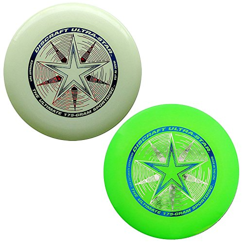 Discraft 175 Gram Ultra Star Sport Disc - 2 Pack (Green & Glow)