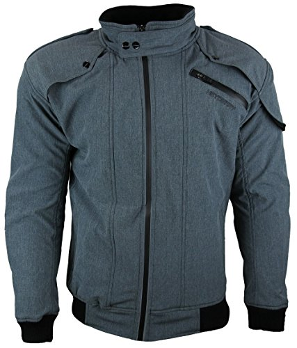 Heyberry Soft Shell Motorradjacke Textil Grau meliert Gr. L - 2