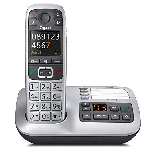 Gigaset E560A Schnurloses DECT-Telefon (mit Anrufbeantworter, ein Universal-Mobilteil mit Farbdisplay, extra großen Tasten und 4 SOS-Tasten) platin