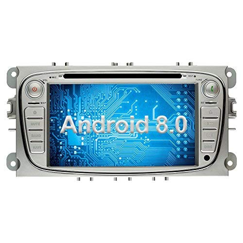 Ohok 2 DIN Android 8.0.0 Autoradio 7 Pulgadas Oreo Octa Core 4GB Ram 32GB ROM GPS Navegador Radio Soporta Bluetooth WiFi AV-IN SWC para Ford Mondeo/Ford S-MAX/Ford C-MAX/Ford Focus/Ford Galaxy Plata
