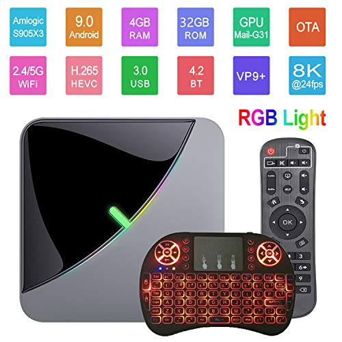 Android 9.0 TV Box A95X F3 Air 8K RGB Smart TV Box Light Amlogic S905X3 4GB 32GB 2.4G&5.8GHz Dual WiFi BT 4K 60fps Netflix YouTube Smart TV Dongle Media Player with Wireless Keyboard Remote (Backlit)