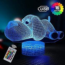 Hund 3D Lampe Nachtlicht mit Fernbedienung, Geschenk für Kinder, 3D Illusion Lampe 16 Farben Ändern, 6 Jährige Jungen Geschenk, Geburtstag Geschenk, Geschenke für Jungen und Mädchen