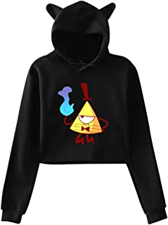 Chouven Women&Girl Bill Cipher Gravity Falls Cat Ear Hooded Sweatshirts Pullover
