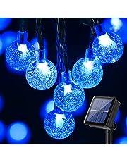 BrizLabs Led-lichtsnoer op zonne-energie, 13,8 m, 60 leds, kristallen bollen, solarlichtketting voor buiten, 8 modi, waterdicht, binnenverlichting voor tuin, bomen, terras, binnenplaats, Kerstmis, bruiloften, feesten, veelkleurig