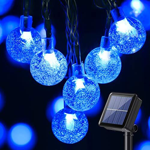 Guirnalda Luces Exterior Solare, BrizLabs 13.8M 60 LED Cadena de Luces Bolas Led Decoracion Impermeable 8 Modos Interior Iluminación Solar para Navidad, Jardín, Terraza, Patio, Boda, Fiesta, Azul