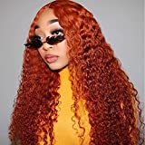 YMS 150% Density T Part Lace Front Wigs Human Hair Pre Plucked Orange Red Human Hair Wigs for Black Women Curly Human Hair Lace Front Wigs(22 inch,Orange Red)