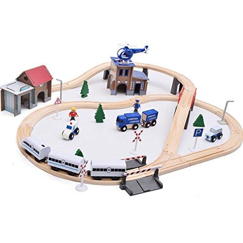 Great Price! HongTeng Children's Toys Beach Toys Wooden 80 pcs Rail Overpass Disassembling Train Tra...