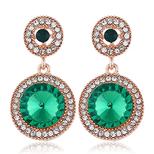 European and American exaggerated jewelry alloy round retro earrings fashion exaggerated large gemstone full diamond earrings hot sale