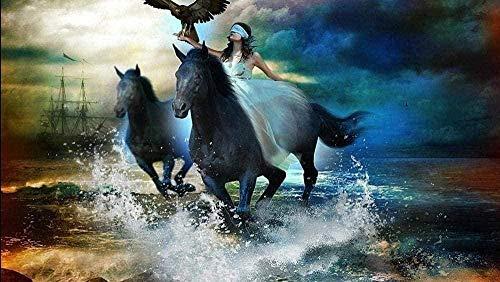 Mini Rompecabezas para Adultos 1000 Piezas Eagle Horse Cartón Rompecabezas Desafío de Ejercicio Cerebral Juego de Alta dificultad Regalo para niños Niños 38 * 26 cm