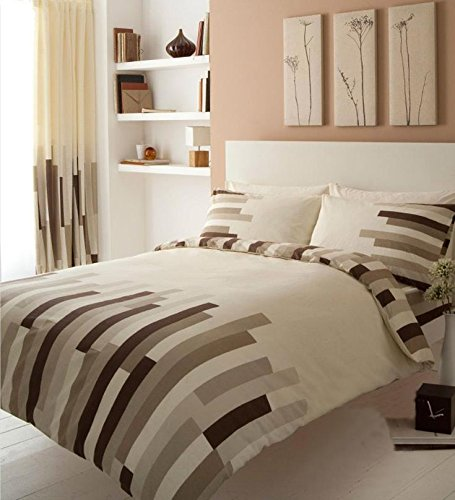Gaveno Cavailia Luxury BLOCKS Bed Set With Duvet Cover and Pillow Case, Cream/Brown, Polyester-Cotton, Single