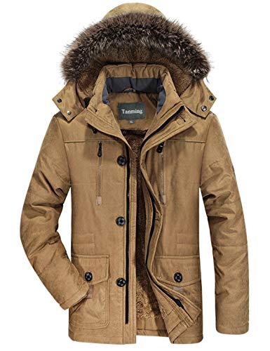 Tanming Men's Winter Warm Faux Fur Lined Coat with Detachable Hood (Large, Khaki)