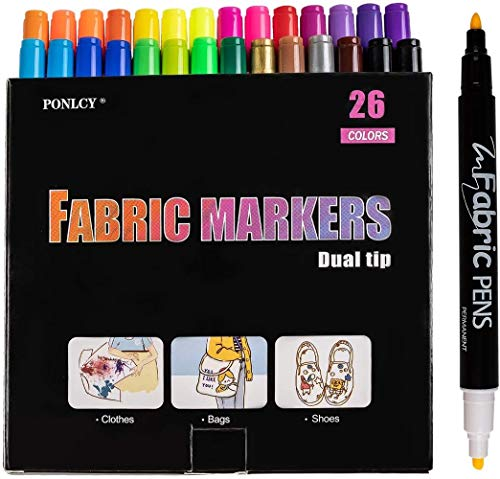 PONLCY Upgraded Fabric Paint Marker 26 Colors -Fine & Chisel Dual Nibs Fabric Markers Pens Permanent, Kids Adults Non-Toxic T-Shirts Canvas Bags Sneakers Graffiti Painting Pencils