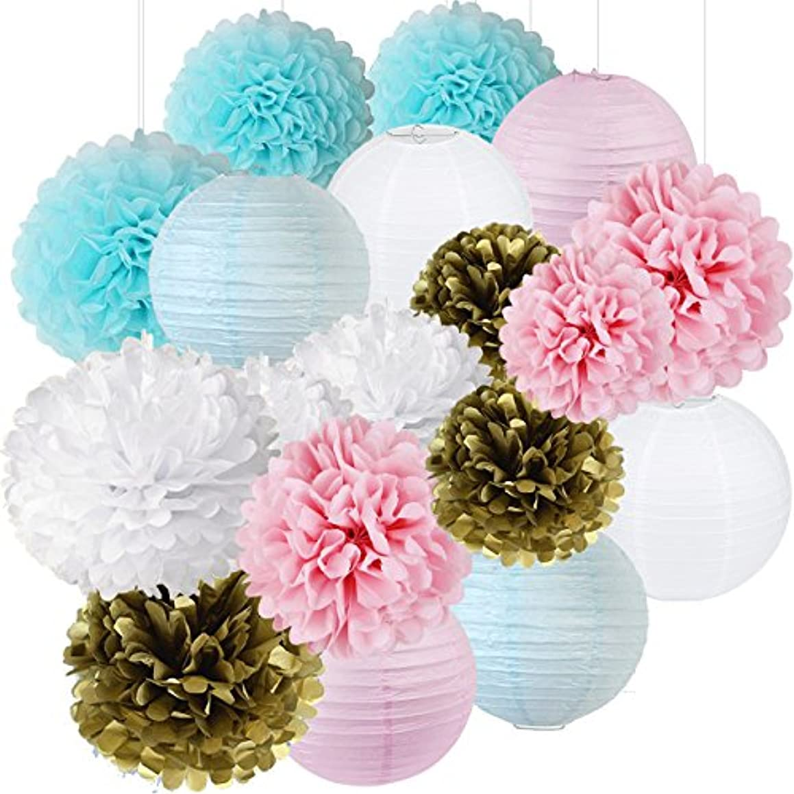 Gender Reveal Party Supplies Boy or Girl Baby Shower Decorations Baby Blue Pink White Gold Tissue Paper Pom Pom Paper Lanterns for Pink and Blue Decorations /Gender Reveal Party Decorations
