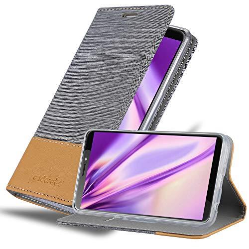 Cadorabo Hülle für HTC Desire 12 Plus in HELL GRAU BRAUN - Handyhülle mit Magnetverschluss, Standfunktion & Kartenfach - Hülle Cover Schutzhülle Etui Tasche Book Klapp Style