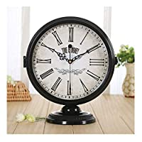 WFL クロック 卓上時計、黒超静音モダンミニマリスト両面時計クロックリビングルームクリエイティブヨーロッパ座る時計時計の装飾品デスクトップ時計 最新の (Color : B)