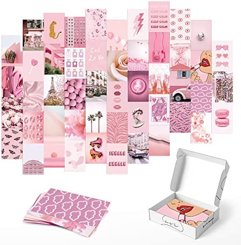 Haus and Hues Pink Aesthetic Wall Collage Kit Set of 50 Aesthetic Pictures for Wall Collage product image