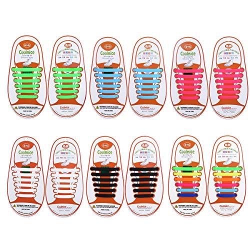 Yuccer Cordones Zapatillas Elasticos, Paquete de 6 Cordones de Goma de los Niños de Silicona Resistente al Agua (6 Colores)