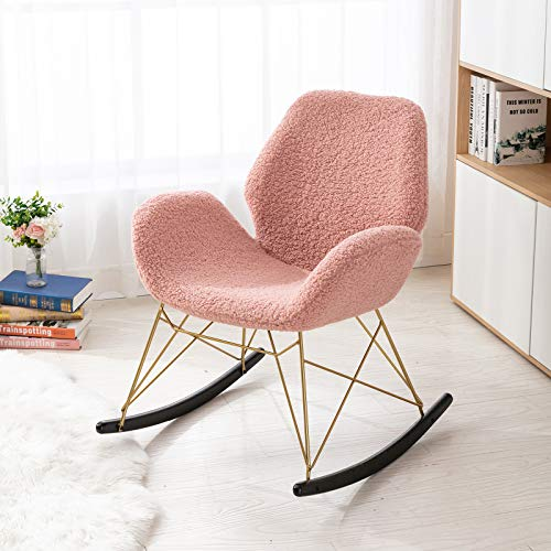 Wahson Faux Fur Rocking Chair Modern Design Nursing Glider with Gold Metal Legs Leisure Armchair for Living Room/Bedroom/Balcony (Pink)