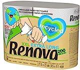 Renova Rollos De Cocina 100% Recycled - 2 Rollos Extra Grandes, 100% Reciclados & Envueltos en Papel Sin Plásticos = 5 Rollos Estándar