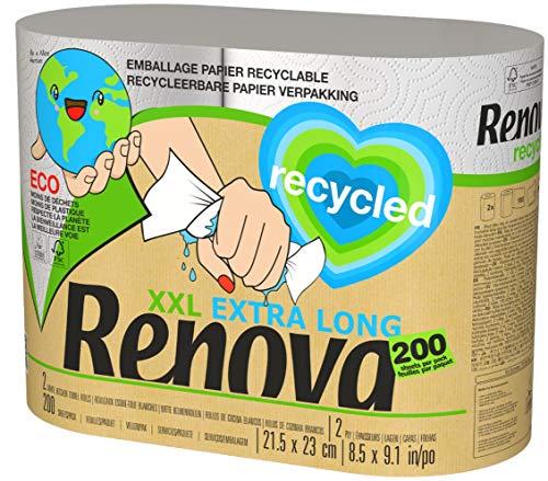 Renova Küchenrollen, 100% recycelbar, 2 extra große Rollen, 100% recycelt und in Papier verpackt, ohne Plastik, 5 Standardrollen