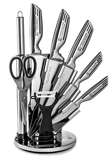 Imperial Collection KST12 9-Piece Stainless Steel Kitchen Cutlery Knife Set with Rotating Block Stand, Silver Signature