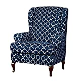 Anchengcraft 2 Piece Wingback Chair Slipcover Stretchy Wingback Armchair Covers Spandex Polyester Sofa Covers Printed Furniture Protector for Living Room Wingback Chair(Navy)