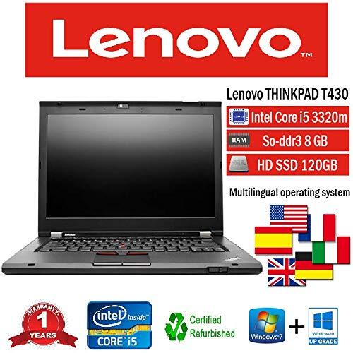 NOTEBOOK RICONDIZIONATO LENOVO T430 INTEL i5 3320M/8GB/128GB SSD/DVD/WIN 10 PRO (Ricondizionato) )