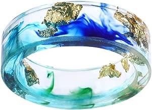 VEINTI+1 Handmade Ocean Style Colorful Ink Transparent Resin/Plastic Women/Men's Charm Ring