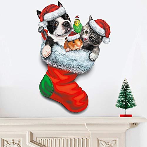 Yiwa muursticker, model van honden, katten, sokken, Kerstmis, voor de decoratie van het huis