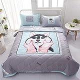 Funda nórdica de verano y 2 fundas de almohada de 1,5 tog, diseño de dibujos animados, lavable a máquina Trendy Quilt cama para sillas o sofá 033 (color: Dog, tamaño doble)
