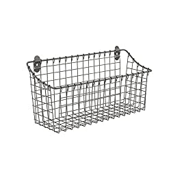 wire basket to mount on wall for organization