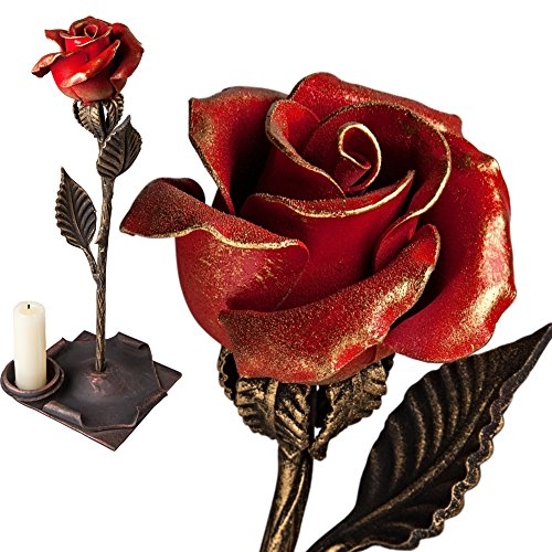 Metal Rose - Iron Anniversary Gift for Her/Red Iron Rose Steel Rose