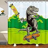 Dinosaurier Duschvorhang 180x180cm Niedliche Karikatur Dschungeltiere für Kinder Jungen Mädchen Jugendliche Dekor Skateboard Wasserdicht Duschvorhang Textil mit Haken Hipster Dekor