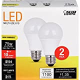 FEIT ELECTRIC A1100/827/10KLED/2 75W Equivalent 11.2 Watt Non-Dimmable 1100 Lumen A19 LED Light Bulb 2-Pack, 2 Pack, 2700K Soft White, 2