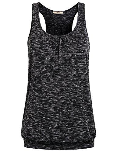 Miusey Tops for Women, Ladies Sleeveless Girls Scoop-Neck Racerback Spring Yoga Summer Workout Clothes Tunic Tank Black XXL