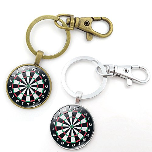 1797 Key Chains Rings Keychains Dart Board Round Model Clip Hooks Men Women Retractable Decorations Loop Clasp Gold Silver Pack of 2