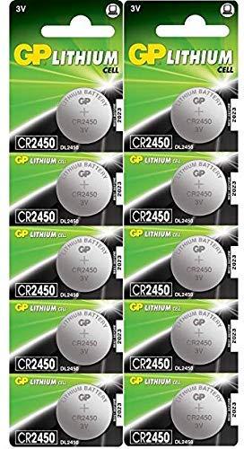 GP Lithium CR2450 Knopfzellen CR 2450 Batterien 3V (3 Volt) 10 Stück Knopfbatterien (in 2X 5er Original-Blisterverpackung, Batterien einzeln entnehmbar)