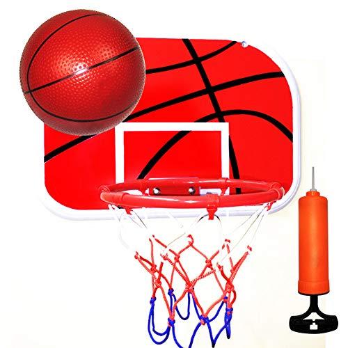 Aro de baloncesto de 25,4 cm, aro de portería de baloncesto montado en la pared con baloncesto e inflador, portería de baloncesto colgante en interiores y exteriores para entrenamiento de niños