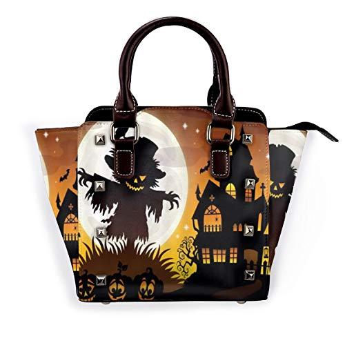 BROWCIN Halloween Mond Vogelscheuche Krähe Kürbis Laterne Haus Fledermaus Abnehmbare mode trend damen handtasche umhängetasche umhängetasche