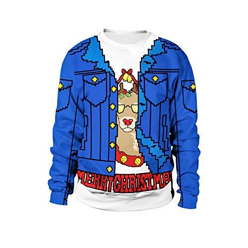 Natale Pixel alce gioco unisex 3D stampa Cool girocollo maglione leggero pullover felpe Sb102-039. XX-Large