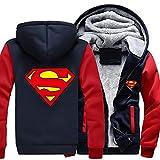 JKHN Sudadera para Hombre Sudadera con Capucha 3D Superman Impreso Casual Chaqueta Deportiva con Capucha Invierno Cálido Fleece Adolescentes D-S