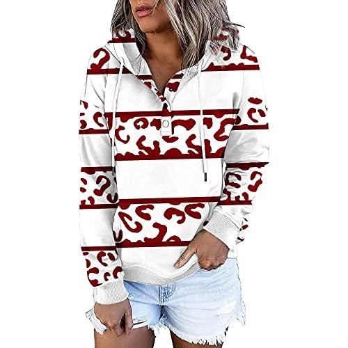 Orgrul Sudadera con capucha de manga larga para mujer, sudadera con capucha, sudadera de manga larga, sudadera ligera para otoño 17CE, rojo, XXL