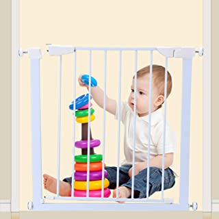 FACAI Stair Gate Baby Gate Child Safety Gate for Dogs and Baby Pressure No Drilling Opens to Both Sides Double Protection Fit 76-85 cm Wide Pet Stair Gate, White