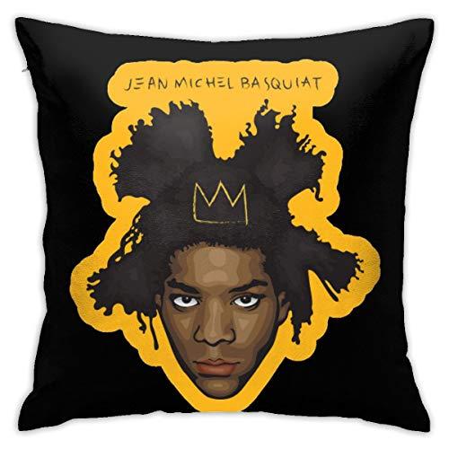 N/A Jean Michel Basquiat Funda de cojín, funda de asiento Pl ̈1schstoff 45 x 45 cm, productos principales cómodo y suave F ̈1r Salón