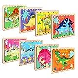 NEWSTYLE Rompecabezas de Madera, Infantiles Animal Pattern Juguete de Madera Puzzle, 8 PCS Doble Cara en Forma de Tira Jigsaw Educación y Aprendizaje Rompecabezas Juguetes (Dinosaurio)