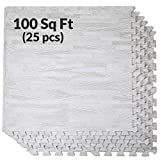 Clevr 100 Sq. Ft 3/8 Inch Thick Interlocking Foam Mats Flooring, White Wood Grain Style - (24' x 24', 25 pcs), Protective Flooring for Home Office Playroom Basement Trade Show, 1 Year Warranty