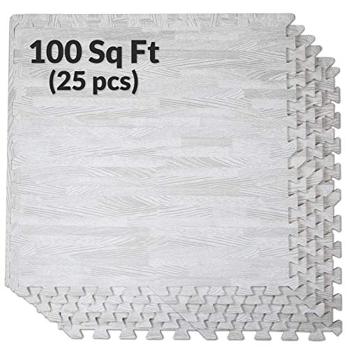 Clevr 100 Sq. Ft (10' x 10') EVA Interlocking Foam Mats Flooring, White Wood Grain Style - (24' x 24', 25 pcs) | Includess Tile Borders | 1 Year Limited Warranty | Perfect for Trade Shows and Convent