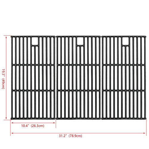 Hisencn Grill Grate Cast Iron Cooking Grid Replacement Parts for Brinkmann 810-8501, Charmglow, Costco Kirkland, Jenn Air 720-0337, Members Mark, Nexgrill, Perfect Flame Gas Grill Models, 19 1/4'