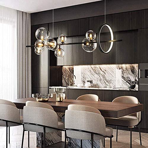 lampadario nordico MAOS Lampadario LED Nordic Black Glass Bubble Paralume Gastronomia Sala Panno Conservare Appeso Lampadario Illuminazione Lampadina G9 (Color : 120x30cm)